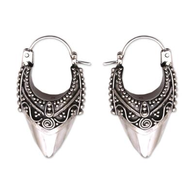 Sterling silver hoop earrings, 'Bali Origin' - Ornate Balinese Hoop Earrings