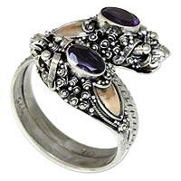 Gold accent amethyst wrap ring, 'Twin Dragon' - Gold Accent Amethyst Dragon Ring