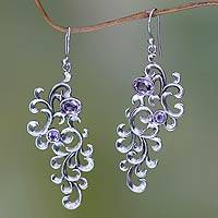 Amethyst dangle earrings, 'Tropical Wisteria' - SIlver Arabesque Earrings with Amethyst