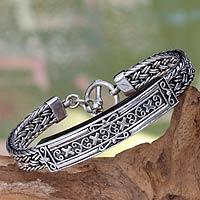 Sterling silver braided bracelet, 'Tabanan'