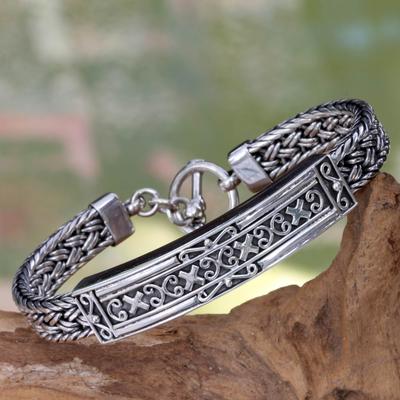 Sterling silver braided bracelet, 'Tabanan' - Braided Silver Medallion Bracelet