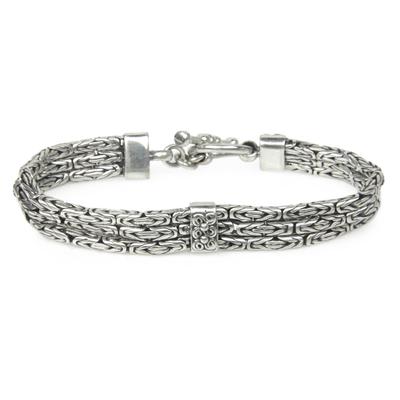 Sterling silver link bracelet, 'Temple Paradise' - Triple Braid Silver Bracelet
