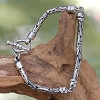 Sterling silver link bracelet, 'Borobudur' - Bali Sterling Bracelet