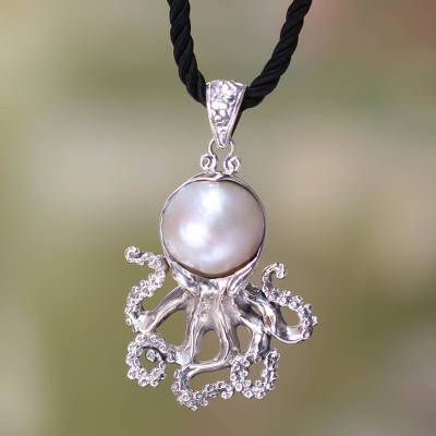Pearl on sterling silver pendant on silk necklace white octopus cultured pearl pendant necklace white octopus pearl on sterling silver pendant on mozeypictures Image collections
