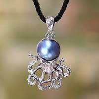Cultured pearl pendant necklace, 'Blue Octopus'