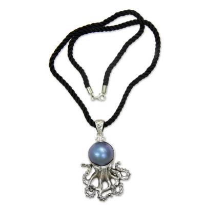 Cultured pearl pendant necklace, 'Blue Octopus' - Pearl and Sterling Silver Pendant on Silk Necklace