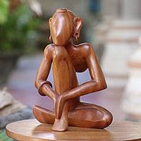 Wood statuette, 'Man Doing Yoga' - Wood statuette