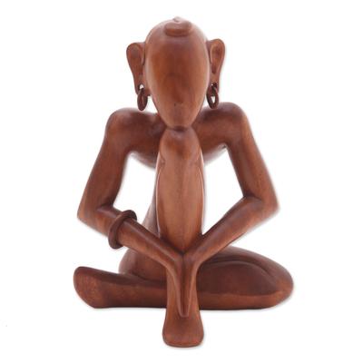 Wood statuette, 'Man Doing Yoga' - Wood statuette