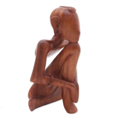 NOVICA 22366 Man Doing Yoga Wood Statuette