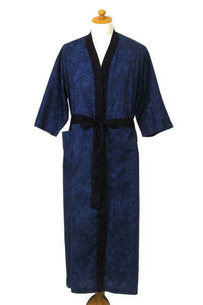 Men's cotton robe, 'Lake of Dreams' - Men's Blue and Black Block Print Robe from Indonesia