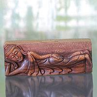 Wood puzzle box, 'Reclining Buddha' - Buddha Theme Puzzle Box