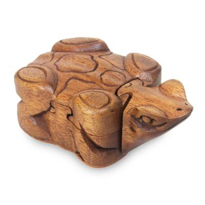 Wood puzzle box, 'Balinese Frog' - Frog Theme Puzzle Box