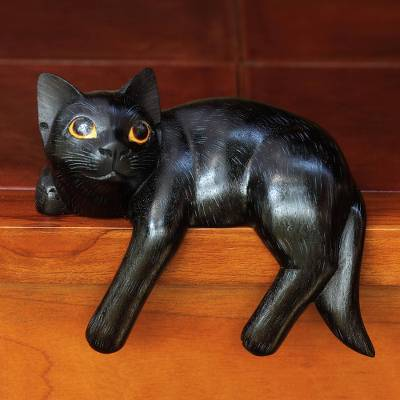 Wood sculpture, 'Black Cat Relaxes' - Signed Balinese Black Cat Sculpture