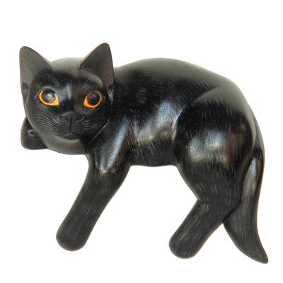 Wood sculpture, 'Black Cat Relaxes' - Signed Balinese Black Cat Sculpture