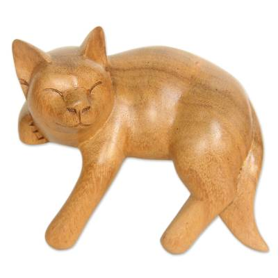 Wood sculpture, 'Smiling Cat Relaxes' - Signed Balinese Tabby Cat Sculpture