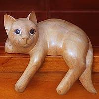 Wood sculpture, 'Ginger Cat Relaxes' - Signed Balinese Ginger Cat Sculpture