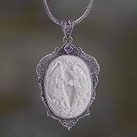 Bone and amethyst pendant necklace, 'Two Lucky Dragon Fish' - Amethyst Necklace with Carved Bone Medallion