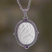 Bone and amethyst pendant necklace, 'Phoenix Power' - Bone and Amethyst Medallion on Sterling Silver Necklace