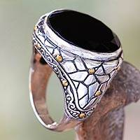 Men's gold accent onyx ring, 'Midnight Moon' - Men's Gold Accent Onyx Ring