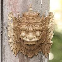 Wood mask, 'Fierce Kumbakarna' - Balinese Ramayana Mask