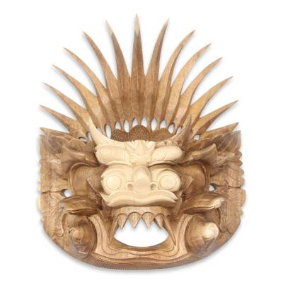 Wood mask, 'Barong Sae' - Hand Carved Balinese Barong Wall Mask