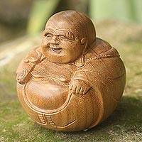 Wood sculpture, 'Laughing Buddha' - Laughing Buddha Sculpture