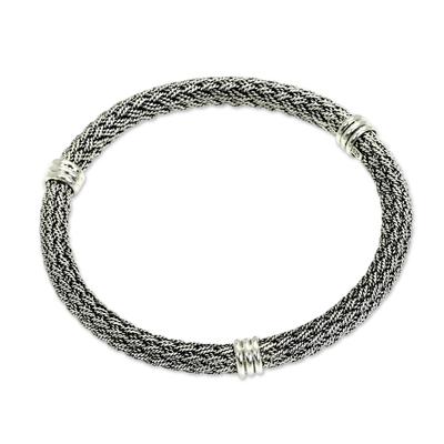 Sterling silver bracelet, 'Serpent Wisdom' - Balinese Braided Sterling Silver Bangle
