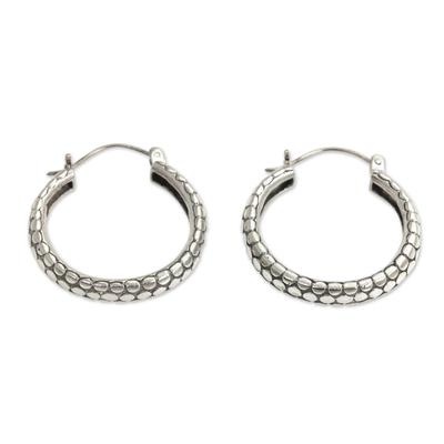 Balinese Handcrafted Silver Hoop Earrings