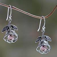 Amethyst flower earrings, 'Eternal Rose' - Floral Silver Earrings with Amethyst