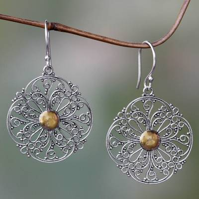 Gold accent dangle earrings, 'Filigree Sun' - Gold Accent Flower Earrings from Bali