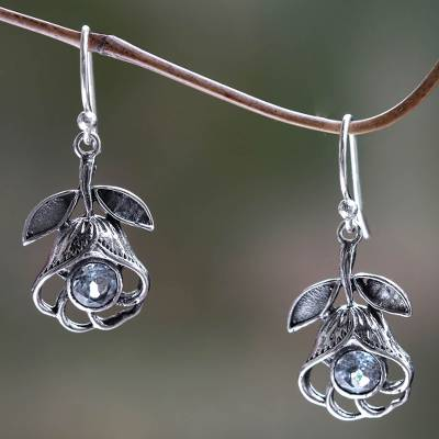 Blue topaz flower earrings, 'Eternal Rose' - Floral Silver Earrings with Blue Topaz
