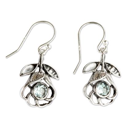 Blue topaz flower earrings, 'Eternal Rose' - Floral Silver Earrings with Blue Topaz