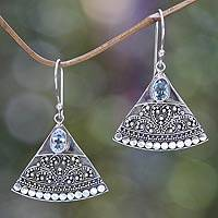 Blue topaz dangle earrings, 'Kintamani' - Indonesian Earrings with Blue Topaz