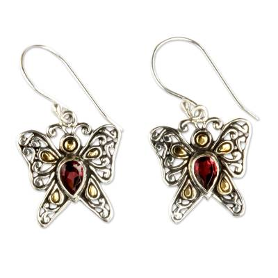 Gold accent garnet dangle earrings, 'Magical Monarch' - Handcrafted Indonesian Gold Accent Garne Silver Earrings