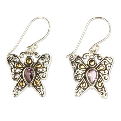 Gold accent amethyst dangle earrings, 'Magical Monarch' - Handcrafted Indonesian Gold Accent Amethyst Earrings