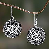 Sterling silver dangle earrings, 'Indonesian Sun' - Fair Trade Sterling Earrings