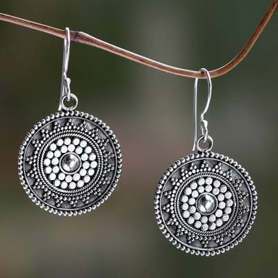 Sterling silver dangle earrings, 'Indonesian Sun' - Fair Trade Sterling Earrings