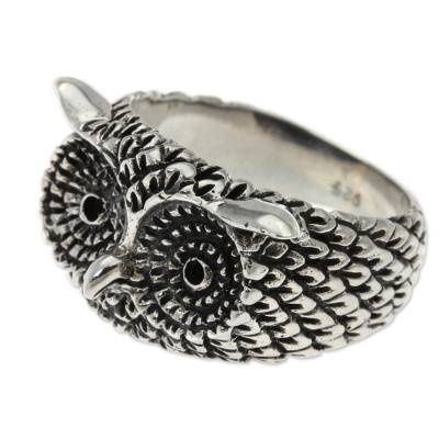 Sterling silver cocktail ring, 'Watchful Owl' - Silver Owl Ring
