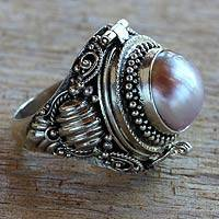 Cultured pearl locket ring, 'Rose Secret'