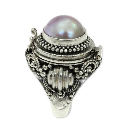 Cultured pearl locket ring, 'Rose Secret' - Pink Cultured Pearl and Silver Locket Ring