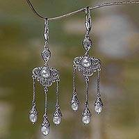 Cultured pearl chandelier earrings, 'Moonlight Waltz'