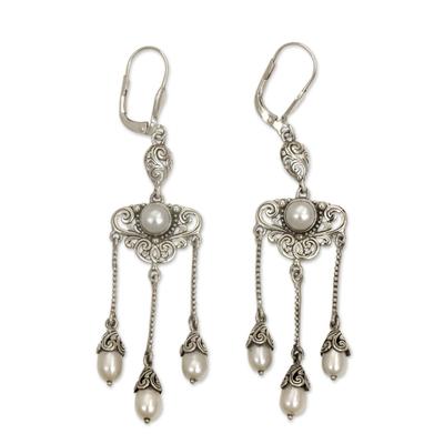 Cultured pearl chandelier earrings, 'Moonlight Waltz' - Ornate Indonesian Chandelier Earrings with Cultured Pearls