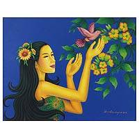 'Loving Bird' - Original Oil Painting of Woman and Bird from Bali