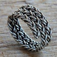 Men's sterling silver band ring, 'Spiral Path'