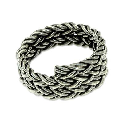Men's sterling silver band ring, 'Spiral Path' - Men's Wide Braided Silver Ring