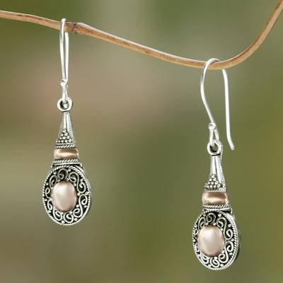 Gold accent dangle earrings, 'Golden Temple' - Balinese Earrings