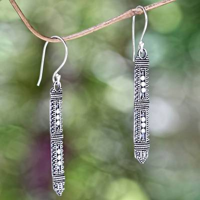 Sterling silver dangle earrings, 'Borneo Scepter' - Traditional Indonesian Silver Earrings