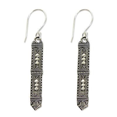 Sterling silver dangle earrings, 'Borneo Scepter' - Traditional Indonesian Silver Earrings