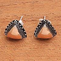 Gold accent sterling silver stud earrings, 'Triangular Radiance'