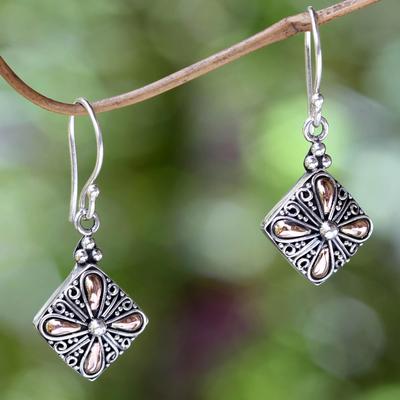 Gold accent flower earrings, 'Jasmine Petals' - Balinese Gold Accent Flower Earrings